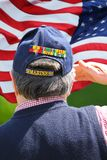 Marine Veteran Saluting stock photo