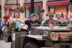 Marine Veterans Participating del cuarto del desfile de julio foto de archivo libre de regalías