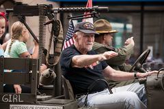 Free Marine Veterans Participating Of Fourth Of July Parade Royalty Free Stock Photo - 123942285