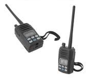 Marine VHF handheld radio on channel 16. Isolated on white background Royalty Free Stock Images