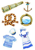 Marine watercolor objects, cable, cabin window, anchor and telescope Royalty Free Stock Photos
