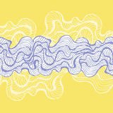Marine waves on a white background. Water Wave abstract design. Violet lines on the yellow background. Hand drawn print. Cosmeti. Hand drawn seaweed pattern Stock Illustration