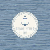 Marine wavy pattern. Seamless nautical linear background pattern and rope border Royalty Free Stock Photography