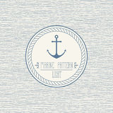 Marine wavy pattern. Seamless nautical linear background pattern and rope border Stock Photos