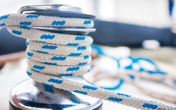 Marine white with blue rope Royalty Free Stock Image