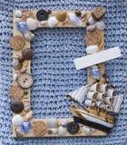 Marine wood frame with ship Royalty Free Stock Image