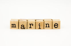 Marine wording isolate on white background Stock Photos