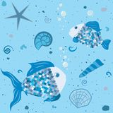 Marine world with fish and shells pattern Stock Images