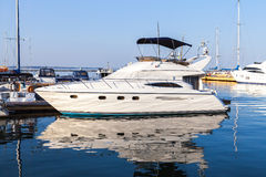 Marine yacht moored pier port. Marine boat dock port is moored shore royalty free stock photos