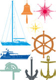 Marine and yachting symbols Royalty Free Stock Images
