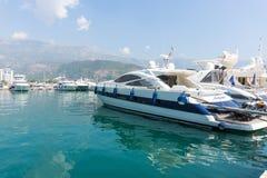 Marine yachts at the marina in Budva, Montenegro Royalty Free Stock Photos