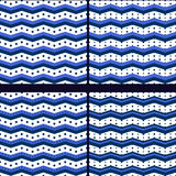 Marine zigzag with polka dot Royalty Free Stock Images