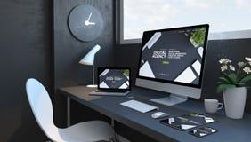Marineblauarbeitsplatz mit digitaler Agenturwebsite der entgegenkommenden Geräte vektor abbildung