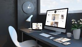 Marineblauarbeitsplatz mit entgegenkommenden Geräten bloggen entgegenkommende Entwurfswebsite vektor abbildung
