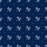 Marineblauw Bloemen Naadloos Patroon met Stippen Stock Afbeelding