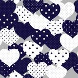 Marineblauw en whiye romantisch naadloos patroon met stip hij royalty-vrije stock fotografie
