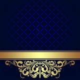 Marineblauwe Achtergrond met gouden koninklijke Grens. Stock Afbeeldingen