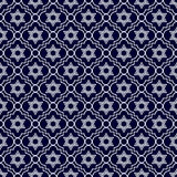 Marineblauwe en Witte Ster van David Repeat Pattern Background Royalty-vrije Stock Fotografie