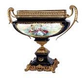 Marineblauwe vaas met geschilderde decoratie Stock Foto