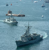 Marineflotte in Sydney-Hafen. Lizenzfreie Stockfotos