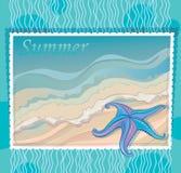 Marinehintergrund mit Starfish Stockbilder