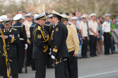 Marinekommandanten auf der Parade stockfoto