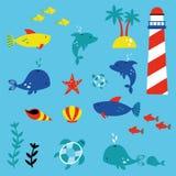 Marinelife children style illustration set. Marinelife children style vector illustration set Royalty Free Stock Image