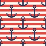 Marinemuster Anker, nahtloses Muster der Marine mit Streifen stock abbildung