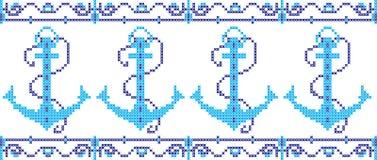 Marinemuster gestickt auf einem transparenten Hintergrund Stockbild