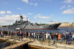 Marineparade eingeweiht Victory Day in St Petersburg, Russland lizenzfreie stockfotografie