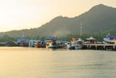 Marinepijler in het dorp genoemd Klap Bao Royalty-vrije Stock Fotografie