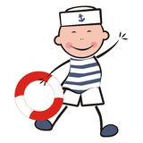 Mariner. Merry sailor with rescue circle. Picture for children Royalty Free Stock Images