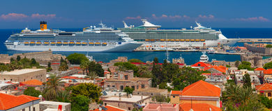 Mariner of the Seas and Costa Fascinosa Stock Image