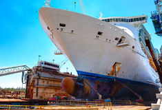 Mariner of the Seas large cruise ship is docked in the dry dock for refurbishment process. Freeport, Bahamas. Stock Photos