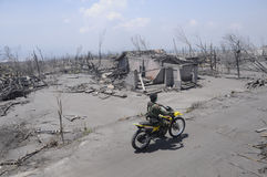 Mariner sweeping the villages. Affected by the eruption of Mount Merapi in Klaten, Central Java, Indonesia royalty free stock images