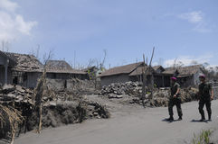 Mariner sweeping the villages. Affected by the eruption of Mount Merapi in Klaten, Central Java, Indonesia stock photos