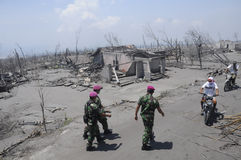 Mariner sweeping the villages. Affected by the eruption of Mount Merapi in Klaten, Central Java, Indonesia stock image
