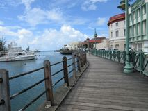 Seaside Boardwalk in Caribbean royalty free stock photography