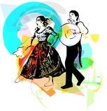 Иллюстрация marinera танцев пар Стоковые Фото