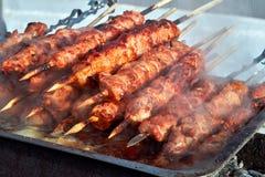 Marinerad köttshashlik på att förbereda sig på grillfestgaller Kebaber för steknötkött som är på BBQ i ånga och rök Closeupköttst royaltyfria bilder