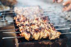 Marinerad shashlik som förbereder sig på ett grillfestgaller över kol Shashlik eller kebab som är populära i Eastern Europe Shash royaltyfria foton