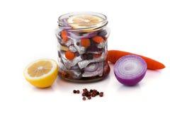 Marinerad sill med kryddor i en glass krus Royaltyfria Bilder