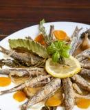 Marinerade sardiner med medelhavs- örter Royaltyfria Foton