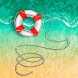 Marinerettungsring mit einem Seil auf dem Strand nahe der Brandung vektor abbildung