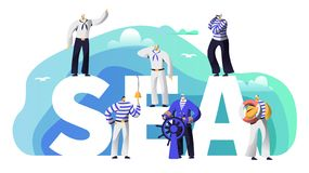 Marinero Character de la bandera de la tipografía del mar Viejo capitán de la barba en la vela del volante a aventurarse Marine C stock de ilustración