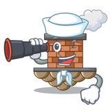 Marinero con la chimenea miniatura binocular del ladrillo de la historieta sobre la tabla ilustración del vector