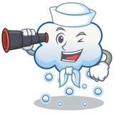 Marinero con la historieta binocular del carácter de la nube de la nieve Fotos de archivo