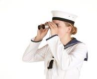 Marinero de la marina con los prismáticos Imágenes de archivo libres de regalías