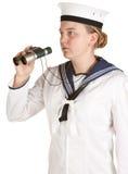 Marinero de la marina con los prismáticos Imagen de archivo