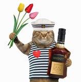 Marinero del gato con el whisky y los tulipanes foto de archivo libre de regalías